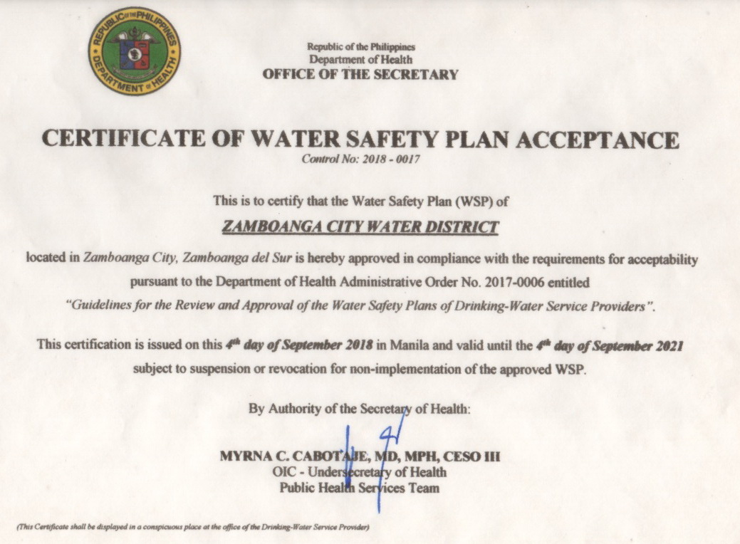 Doh Approves Zcwd Water Safety Plan Wsp Zcwd Official Website